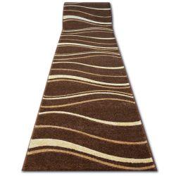 Heat-set Fryz futó szőnyeg FOCUS - 8732 barna wenge HULLÁMOK VONAL kakaó