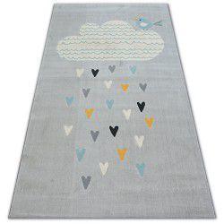 Pastel szőnyeg 18409/652 - Felhő Szívek Madár szürke krém türkiz