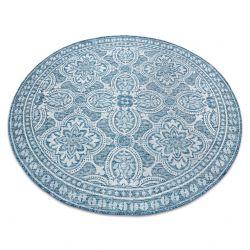 Fonott sizal szőnyeg LOFT 21193 Kör boho elefántcsont/ezüst/kék
