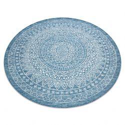 Fonott sizal szőnyeg LOFT 21207 Rozetta Kör boho elefántcsont/ezüst/kék