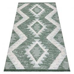 Fonott Sizal szőnyeg boho MOROC gyémánt 22312 rojt - két szintű gyapjú zöld / krém, újrahasznosított szőnyeg